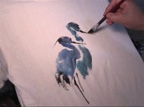 acrylic paint cotton shirt painting blue heron on t shirt using acrylic fabric paints