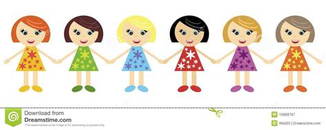Six Little Girls Holding Hands Together Stock Vector