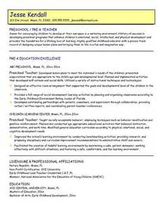samples preschool teacher resume preschool teacher