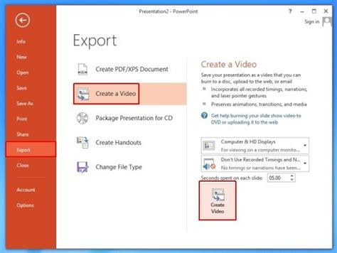 How To Export Ppt Presentation To Video In Microsoft Powerpoint 2013 How To Save A Powerpoint Template