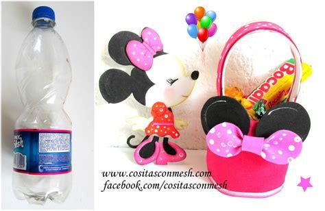 decorar botellas minnie dulceros de minnie mouse con botellas recicladas