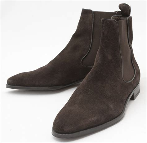 suede boot mens new handmade chocolate brown chelsea suede leather