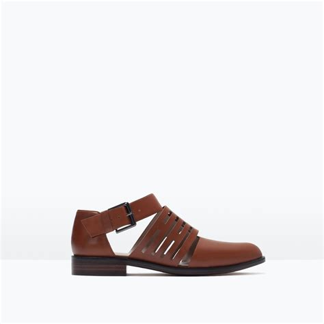 flat leather shoes zara flat leather cut out shoes flat leather cut out shoes