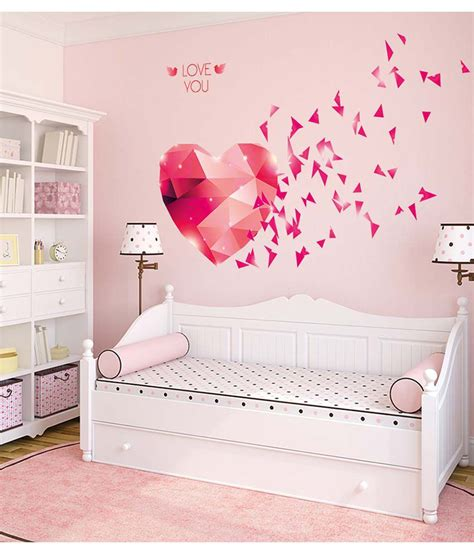 Wall Stickers Multicolor 3 2 stickerskart multicolor you hearts blowing in pink