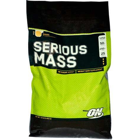 Optimum Nutrition On Serious Mass 2 Kg Repack Trial Size Weight Gainer optimum nutrition serious mass banana 12 lbs 5 455 g