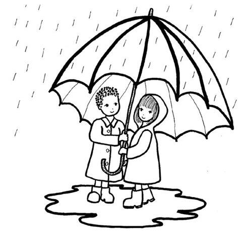 imagenes de invierno con lluvia ni 241 os bajo la lluvia dibujalia dibujos para colorear