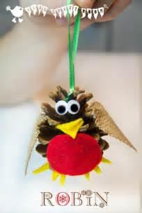 pine cone craft christmas robin ornament