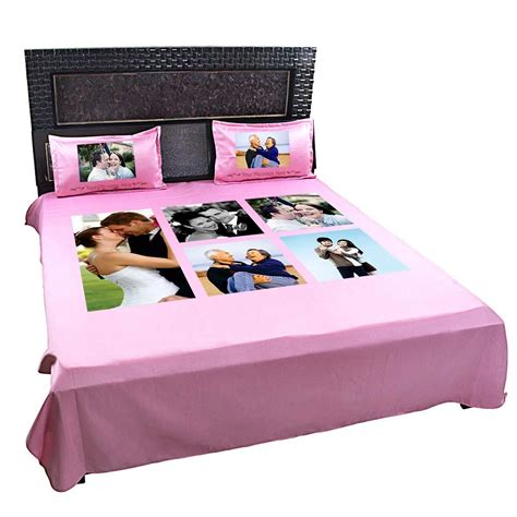 bed sheets and pillow covers personalized photo collage double bedsheet giftsmate
