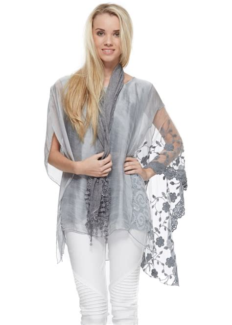 italy grey silk lace sequinned top oversized