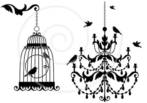 Vintage Birdcage Chandelier Vintage Chandelier With Birds And Birdcage Lamp Clipart