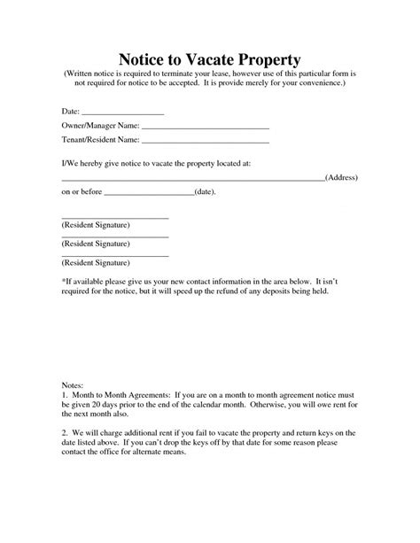 notice vacate property template