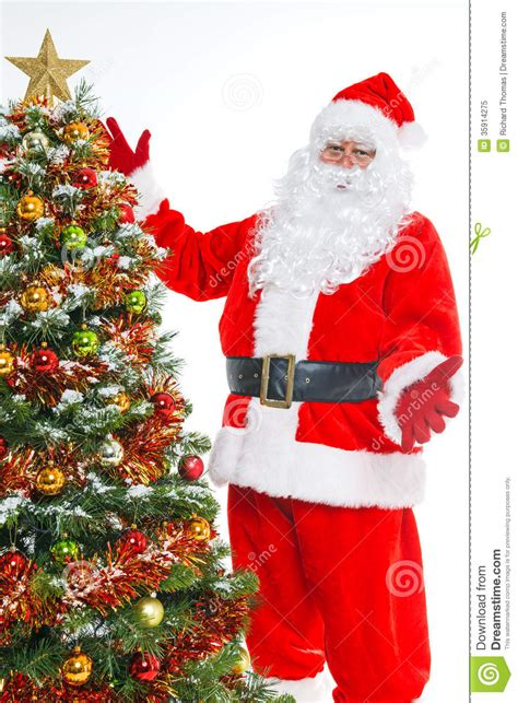 img of santa claus and x mas tree santa and tree isolated royalty free stock photo image 35914275