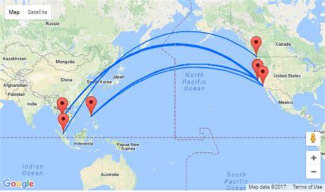 san jose flight map 2 in 1 california to philippines thailand malaysia