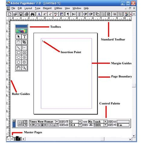 layout menu in pagemaker adobe tutorial on pagemaker basics the workspace toolbox