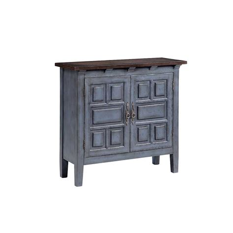 Blue Console Cabinet by Blue Console Cabinet With Recessed Geometric Door Design