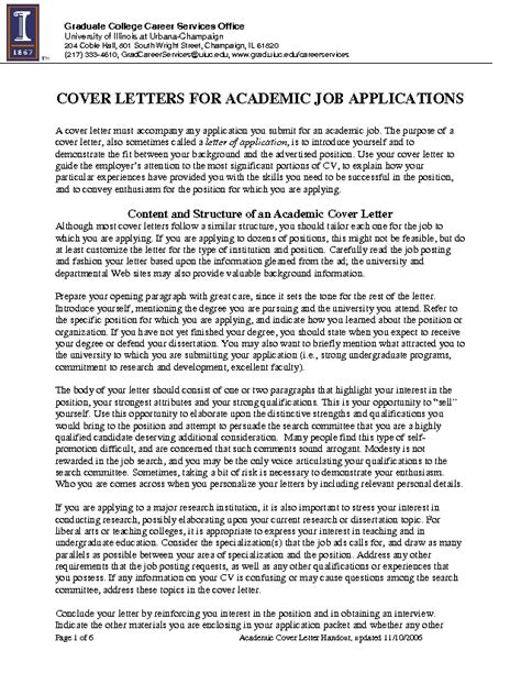 Cover Letters for Academic Job Applications   PDF File