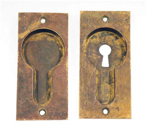 antique door handles set of two antique solid brass pocket door handles olde