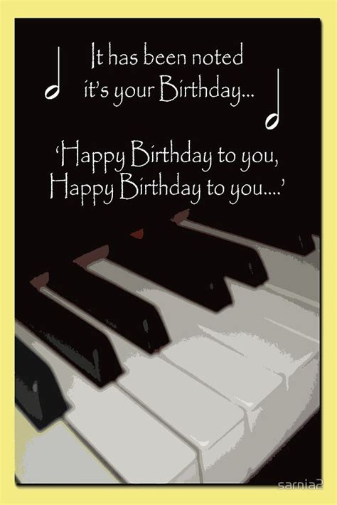 music themed birthday quotes quot happy birthday piano card quot by sarnia2 redbubble