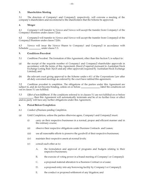 merger agreement template australia merger agreement forms and business
