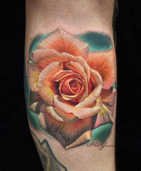 orange rose tattoo realistic orange on the left lower 3 ink