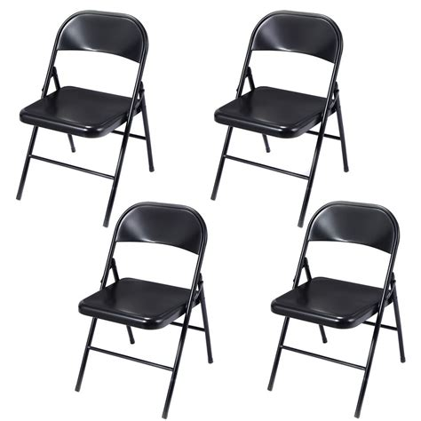 set   folding chairs steel home office garden furniture portable black  ebay
