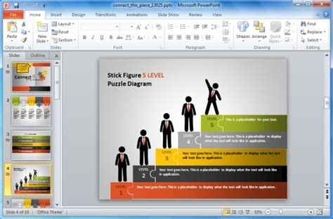 Animated Puzzle Pieces Powerpoint Template With Stick Figures Team Building Powerpoint Presentation Free