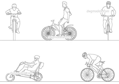 Construction Plan Symbols People Cyclists 35 Dwg Free Cad Blocks Download