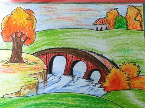 easy scenery drawing  kids  getdrawingscom