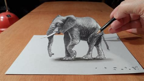 How To Make 3d Drawings On Paper - trick how to draw 3d elephant time lapse