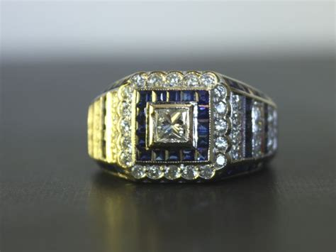 italian 18k white gold ring with diamonds and sapphires