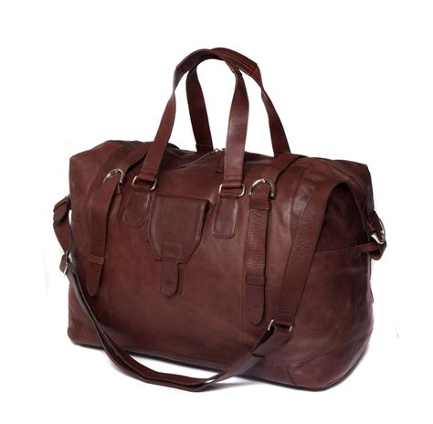 brown leather bags saccoo brown leather large weekend travel bag 2079 1 ebay