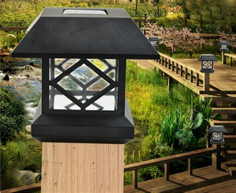 Solar Garden L Post Lights Led Solar Outdoor Light Post Cap Garden Fence Ebay