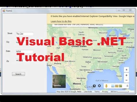 tutorial c basic visual basic net tutorial 52 how to display google maps