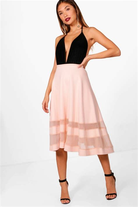 boohoo womens mesh midi skirt stretch