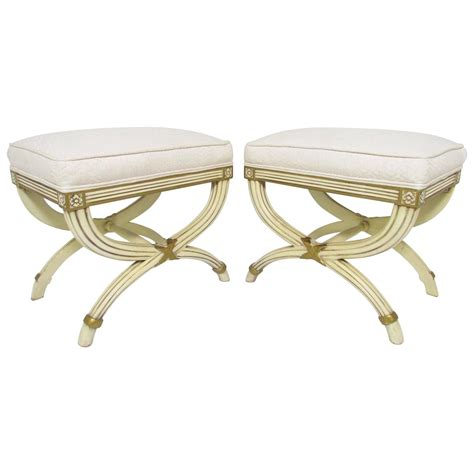 Karges Furniture by Pair Of Regency Style X Base Stools By Karges