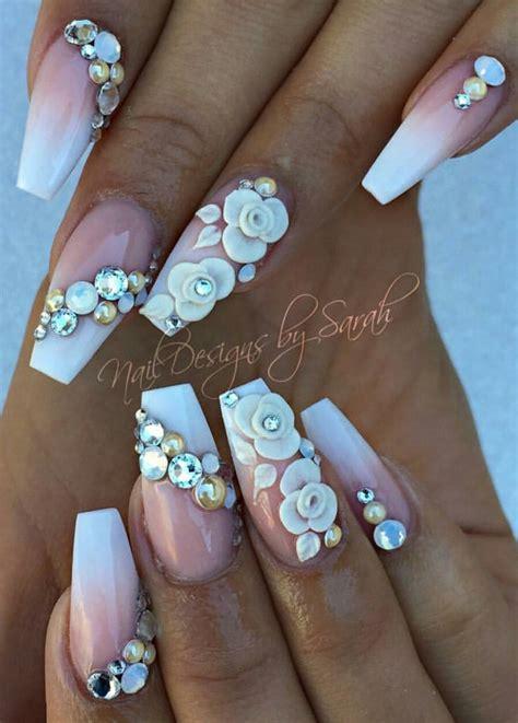 Rhinestone Nail by Floral White Rhinestone Nails Rhinestones Nails