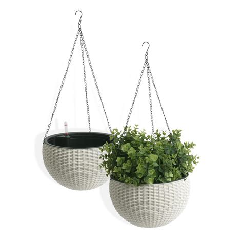 hanging planters algreen self watering wicker white plastic hanging planter