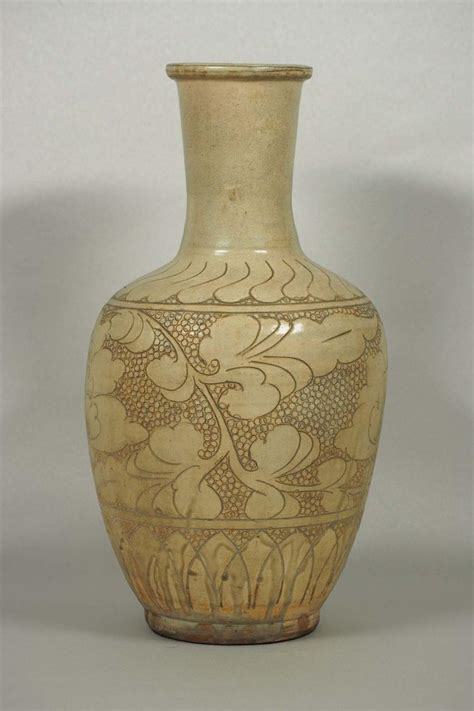 Yuan Vase by Cizhou Vase With Sgraffito Peony Yuan Dynasty