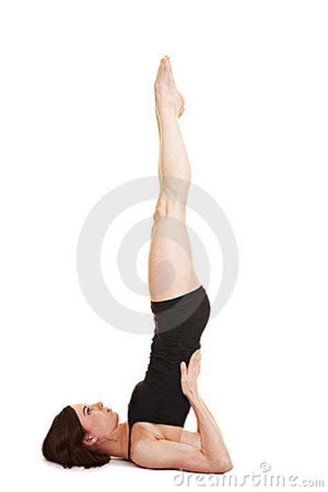 flexible woman  shoulder stand stock  image