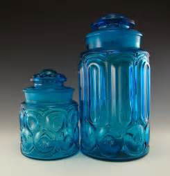 Colored Glass Kitchen Canisters by Vintage Blue Glass Canister Set Images