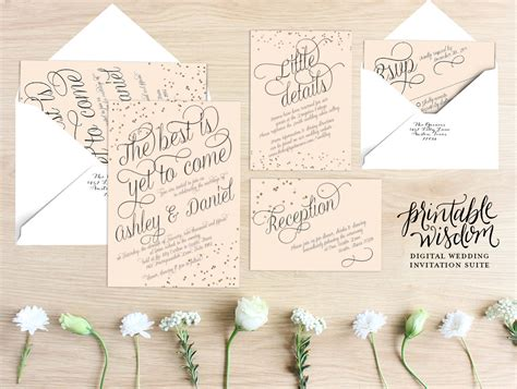 what comes in a wedding invitation suite printable wisdom wedding invitation suite blush gold wedding