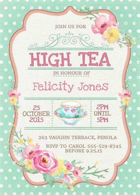 templates for high tea invitations high tea invitation printable for bridal by