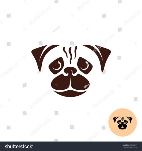pug logo pug logo one color smooth lines style concept stock photo 407945839
