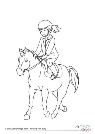 coloring page girl riding horse horse colouring pages