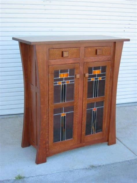 Hand Crafted Display Cabinet With Leaded Glass Doors By Custom Glass Cabinet Doors