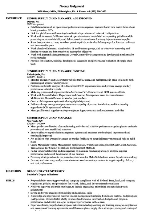 senior executive resume sle supply chain manager resume best chain 2018