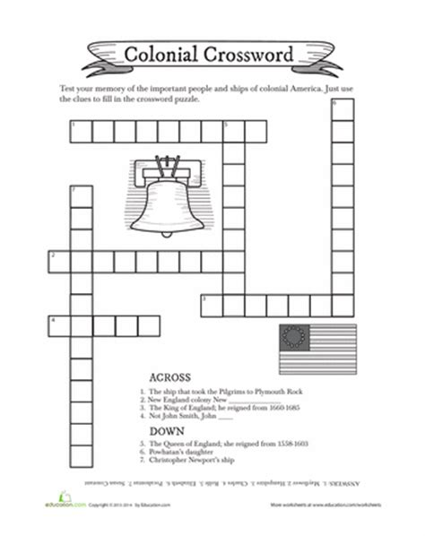 An American Crossword Puzzle Colonial Crossword Puzzle Worksheets Social Studies And Homeschool