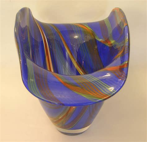 Colored Glass Vases And Bowls Dona Murano Glass Vase Bowl In Blue With Green Orange