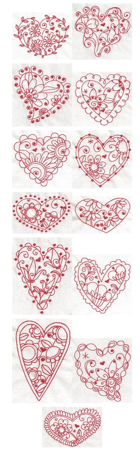 free doodle embroidery designs whimsical hearts redwork machine embroidery designs