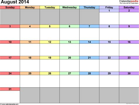 august 2014 calendar template august 2014 calendars for word excel pdf